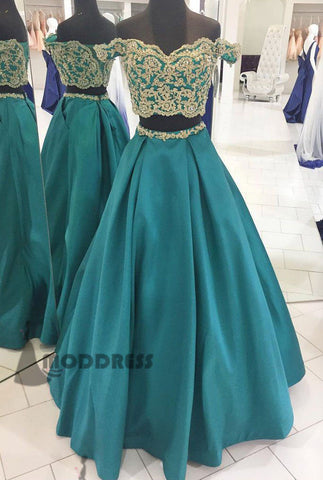 2 Pieces Homecoming Dresses Sweetheart Long Prom Dresses Applique Beading Evening Formal Dresses,HS637