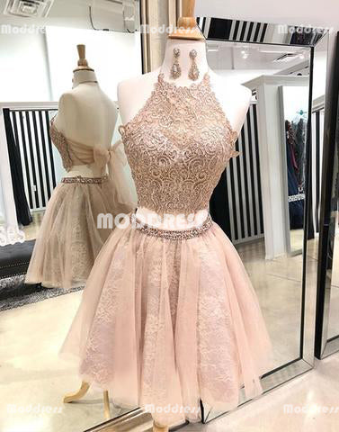 2 Pieces Lace Homecoming Dresses Halter Beaded Homecoming Dresses A-Line Homecoming Dresses with Bowknot