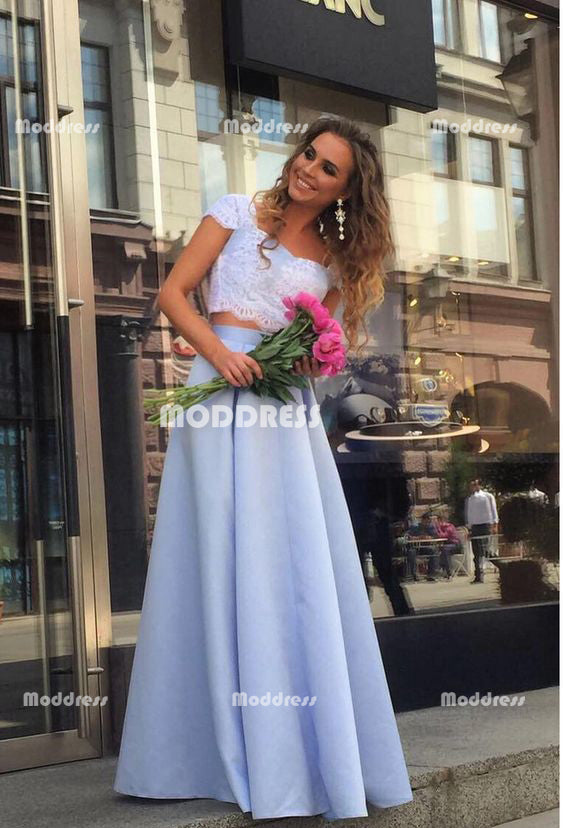 2 Pieces Lace Long Prom Dresses Satin A-Line Evening Dresses Short Sleeve Formal Dresses