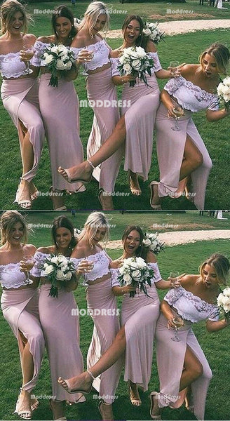 2 Pieces Long Bridesmaid Dresses Lace Off the Shoulder Bridesmaid Dresses with High Slit