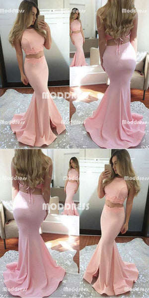 2 Pieces Long Prom Dresses Applique Backless Evening Dresses Mermaid Formal Dresses