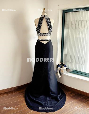 2 Pieces Long Prom Dresses Beaded Evening Dresses High Neck Formal Dresses