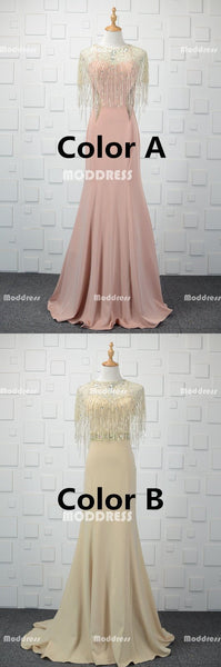 2 Pieces Long Prom Dresses Beaded Evening Dresses Mermaid Formal Dresses