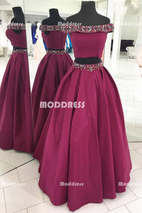 2 Pieces Long Prom Dresses Beaded Satin Evening Dresses A-Line Formal Dresses