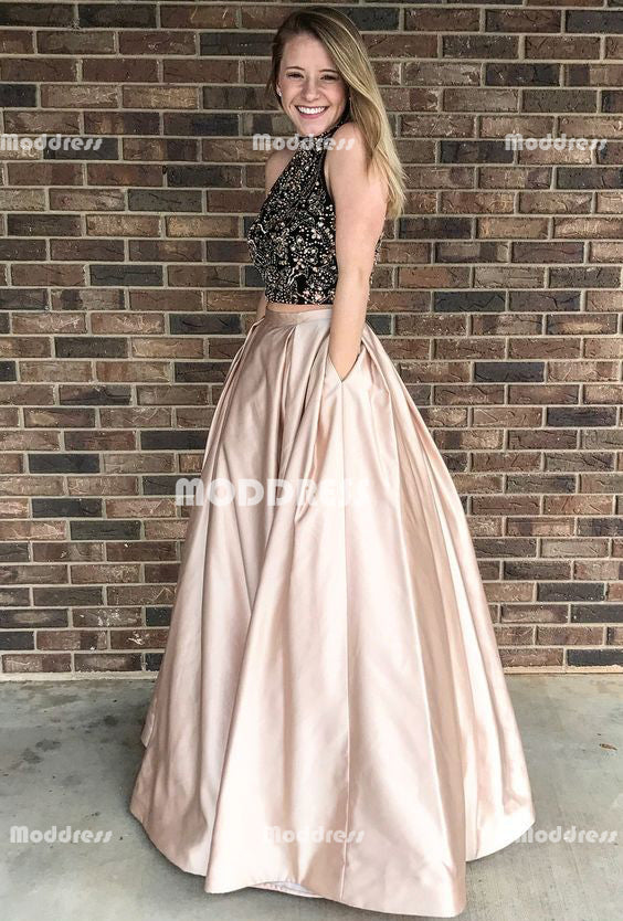 2 Pieces Long Prom Dresses Beading Evening Dresses A-Line Satin Formal Dresses