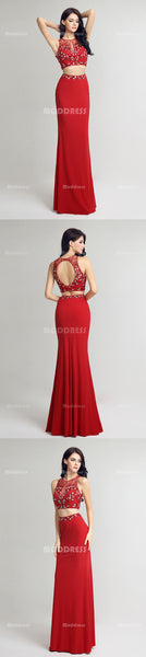 2 Pieces Long Prom Dresses Beading Homecoming Dresses Mermaid Evening Formal Dresses