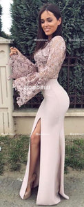 2 Pieces Long Prom Dresses Lace Evening Dresses Mermaid Formal Dresses with High Slit