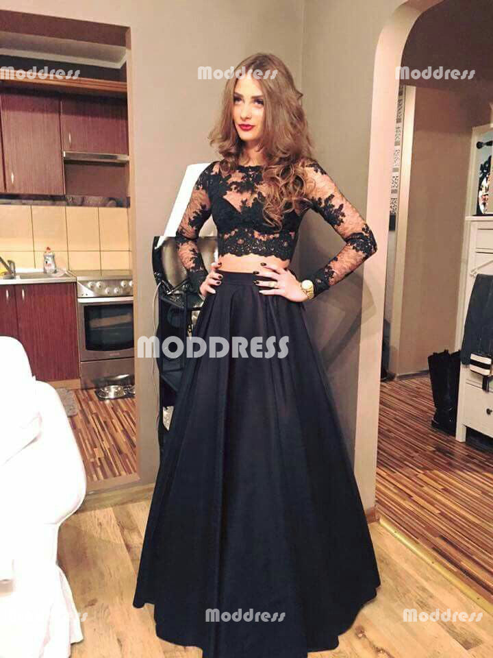 2 Pieces Long Prom Dresses Lace Satin Evening Dresses Black A-Line Formal Dresses