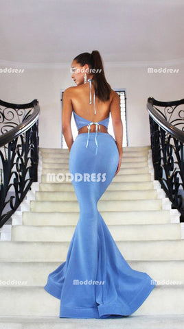 2 Pieces Long Prom Dresses Mermaid Evening Dresses Halter Backless Formal Dresses