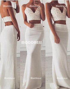 2 Pieces Long Prom Dresses Mermaid Evening Dresses V-Neck Spaghetti Straps Formal Dresses