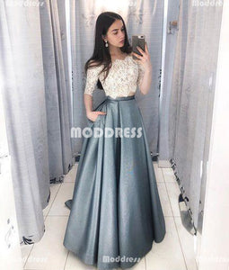 2 Pieces Long Prom Dresses Off the Shoulder Evening Dresses A-Line Lace Formal Dresses
