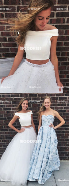 2 Pieces Long Prom Dresses Off the Shoulder Evening Dresses A-Line Pearls White Formal Dresses