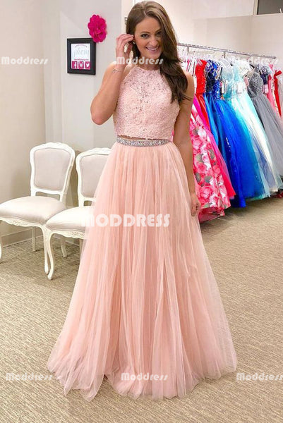2 Pieces Long Prom Dresses Pink Beaded Evening Dresses Applique A-Line Formal Dresses