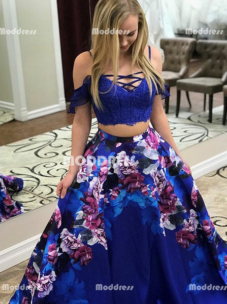2 Pieces Long Prom Dresses Sexy V-Neck Evening Dresses Sweep Train Formal Dresses