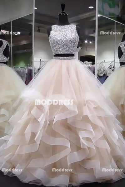 2 Pieces Long Prom Dresses Sleeveless Evening Formal Dresses Backless Ball Gowns,HS954
