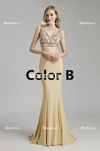 2 Pieces Long Prom Dresses V-Neck Evening Dresses Mermaid Backless Formal Dresses