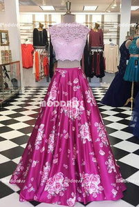 2 Pieces Pink Long Prom Dresses Lace Evening Dresses A-Line Formal Dresses
