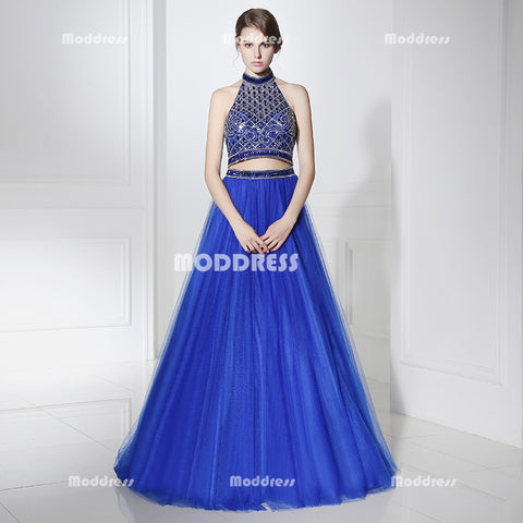 2 Pieces Royal Blue Long Prom Dresses Beaded A-Line Evening Dresses Halter Backless Formal Dresses