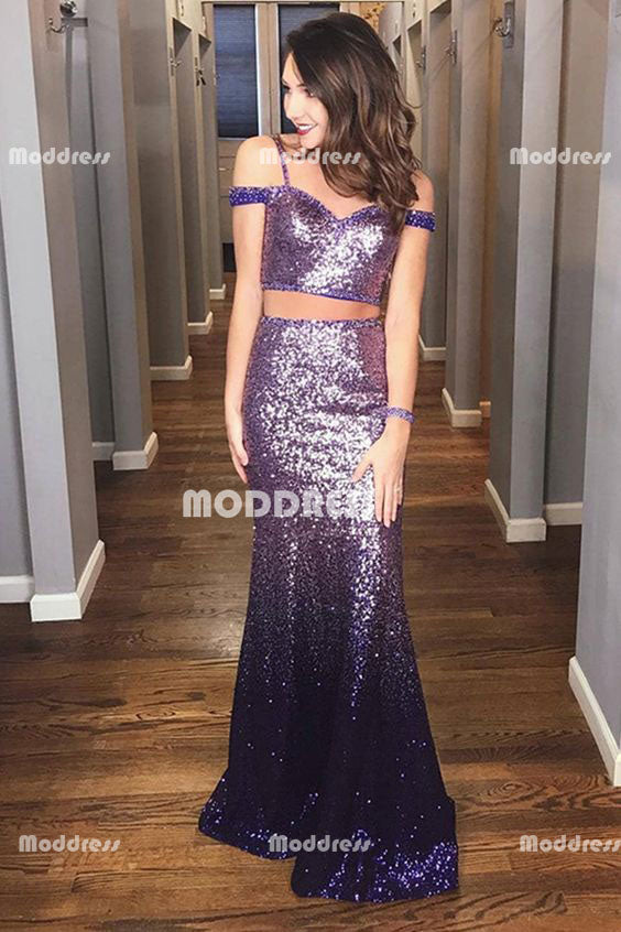 2 Pieces Sequins Long Prom Dresses Off the Shoulder Evening Formal Dresses