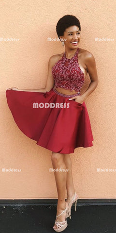 2 Pieces Short Homecoming Dresses Applique Short Homecoming Dresses Satin Short Homecoming Dresses