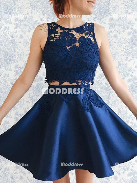 2 Pieces Short Homecoming Dresses Lace Short Homecoming Dresses Satin A-Line Short Homecoming Dresses