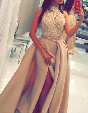 lace top sleeveless halter long side slit prom dress, PD45694