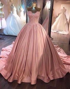 formal charming dusty rose sweetheart A-line long prom dress with train, PD9976
