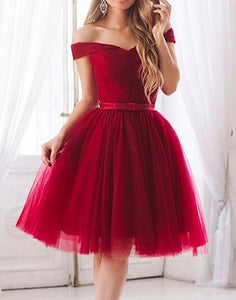 A-line off shoulder red tulle lovely homecoming dress, HD967