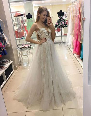 Copy of light gray tulle lace appliques top long prom dress, PD1303