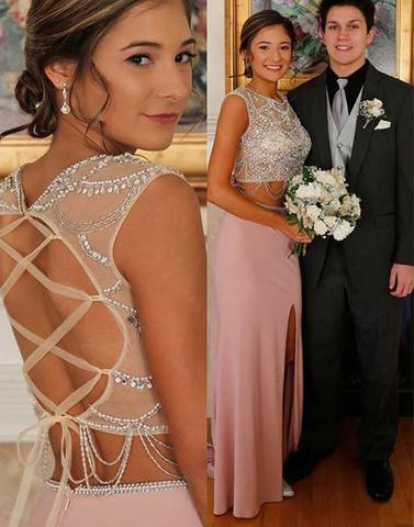 dusty pink two pieces beaded top long side slit prom dress , PD1293