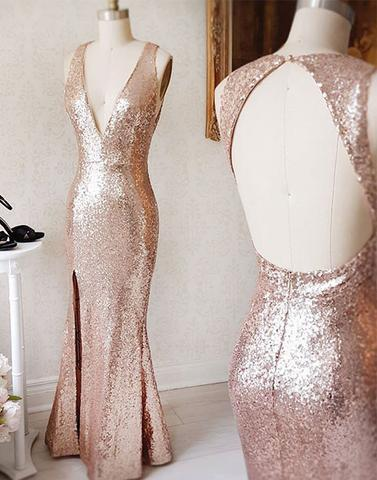 sequin long v-neck open back bridesmaid prom dress, PD52654