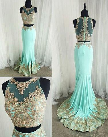 mint green two pieces appliques prom dress, 2017 evening dress, BD641547