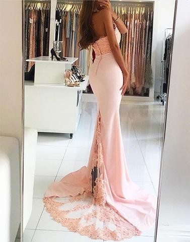 pink mermaid halter long prom dress, 2017 evening dress, PD45674
