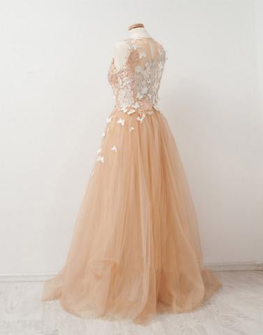 tulle long A-line scoop prom dress with appliques, PD1287