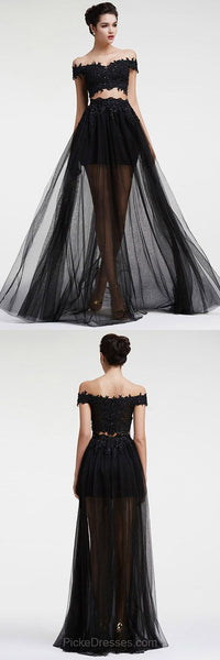 2 pieces homecoming dress lace off the shoulder a-line long prom dress,HS232