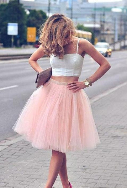 2 pieces short homecoming dress spaghetti straps tulle bridesmaid dress sleeveless prom dresses,HS228