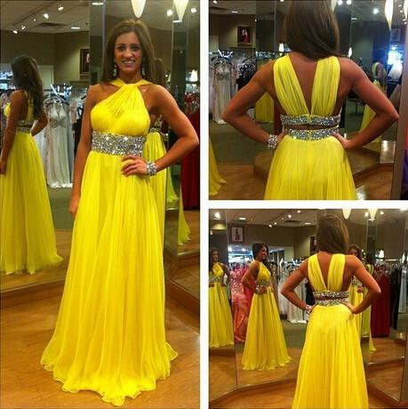 yellow prom dress, long prom dress, elegant prom dress, chiffon prom dress, beading evening dress, BD91