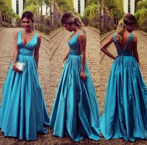 teal prom dress, long prom dress, A-line prom dress, v-neck prom dress, formal evening dress, BD93