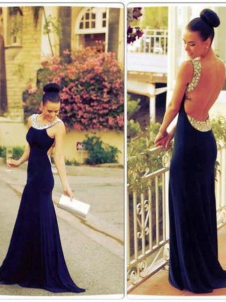 long prom dress, backless prom dress, formal prom dress, mermaid evening dress, BD98