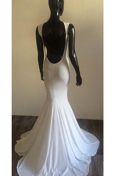 white prom dress, long prom dress, sexy prom dress, backless prom dress, formal evening gown, BD124