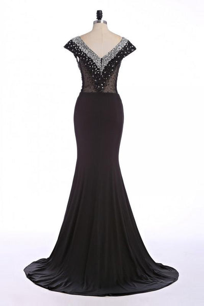 black prom dress, long prom dress, mermaid prom dress, formal prom dress, cap sleeves evening dress, BD130