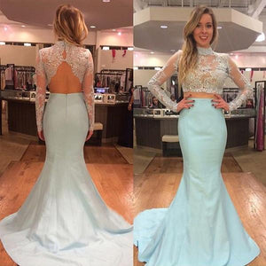 two pieces prom dress, mermaid prom dress, lace long sleeves prom dress, long prom dress, blue evening dress, BD101