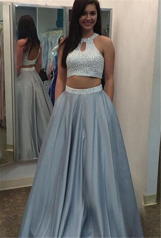 two pieces prom dress, gray prom dress, A-line prom gown, charming prom dress, evening gown 2017, BD146