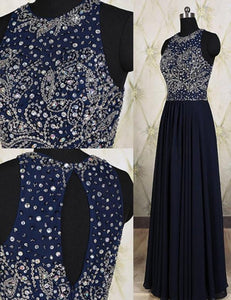 long prom dress, beaded prom dress, charming prom dress, cheap evening dress 2017, BD140
