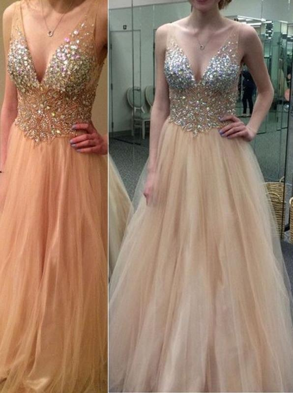 tulle prom dress, v-neck prom dress, beaded prom gown, charming prom dress, evening gown 2017, BD147