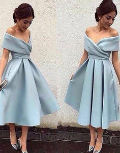 light blue homecoming dress, short homecoming dress, off shoulder prom dress, cheap homecoming dress, satin homecoming dress, BD32871
