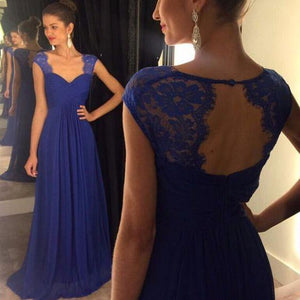 royal blue prom dress, long prom dress, chiffon prom dress, cheap evening dress, bridesmaid prom dress, BD402