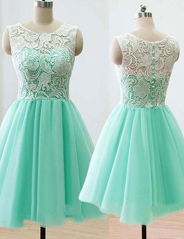 Cute Bridesmaid Dress,Sweetheart Bridesmaid Dress,Scoop Bridesmaid Dress,A-line Bridesmaid Dress,Mint short Bridesmaid Dress, PD37