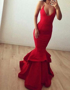 mermaid red spaghetti straps long evening dress, PD1297