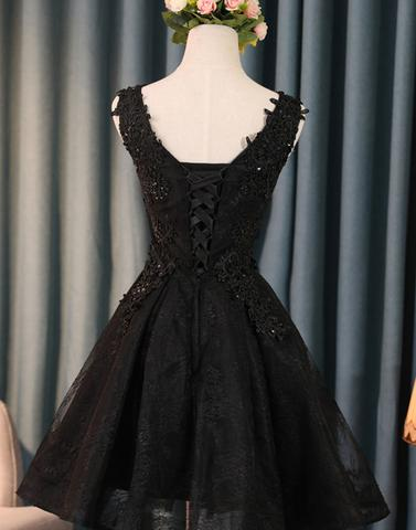 Black lace applique tulle short prom dress black homecoming dress, PD1906